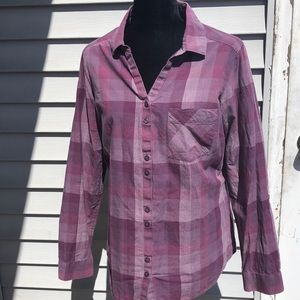 Columbia L purple flannel button up shirt